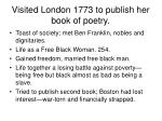 visited london 1773 to publish her book of poetry