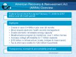 american recovery reinvestment act arra overview