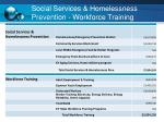 social services homelessness prevention workforce training