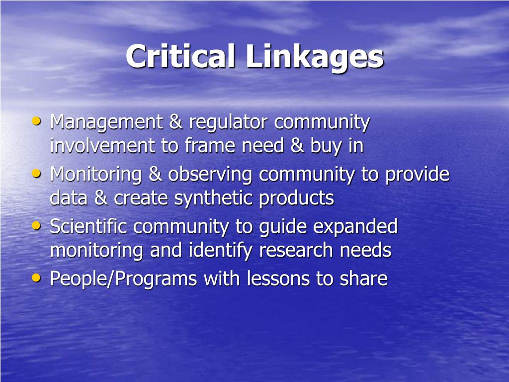 Critical Linkages