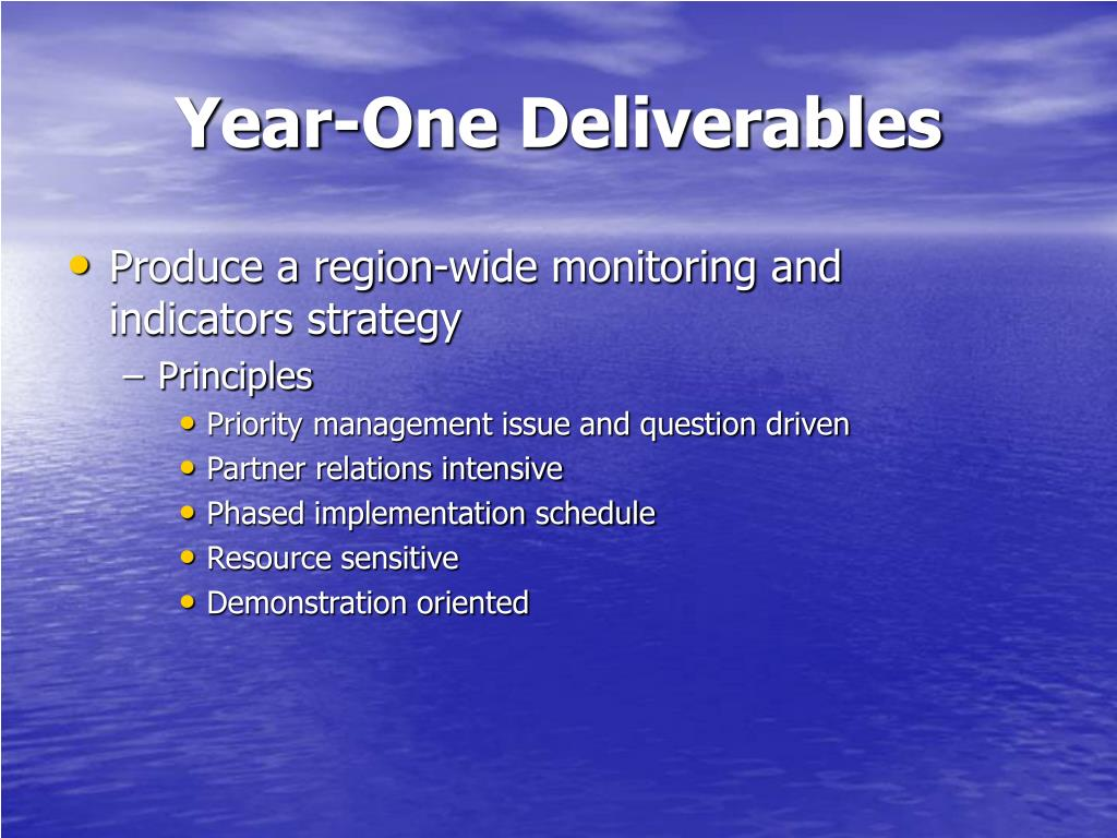 Year-One Deliverables
