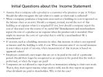 initial questions about the income statement