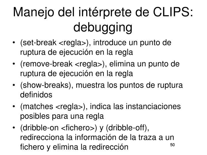 Manejo del intérprete de CLIPS: debugging