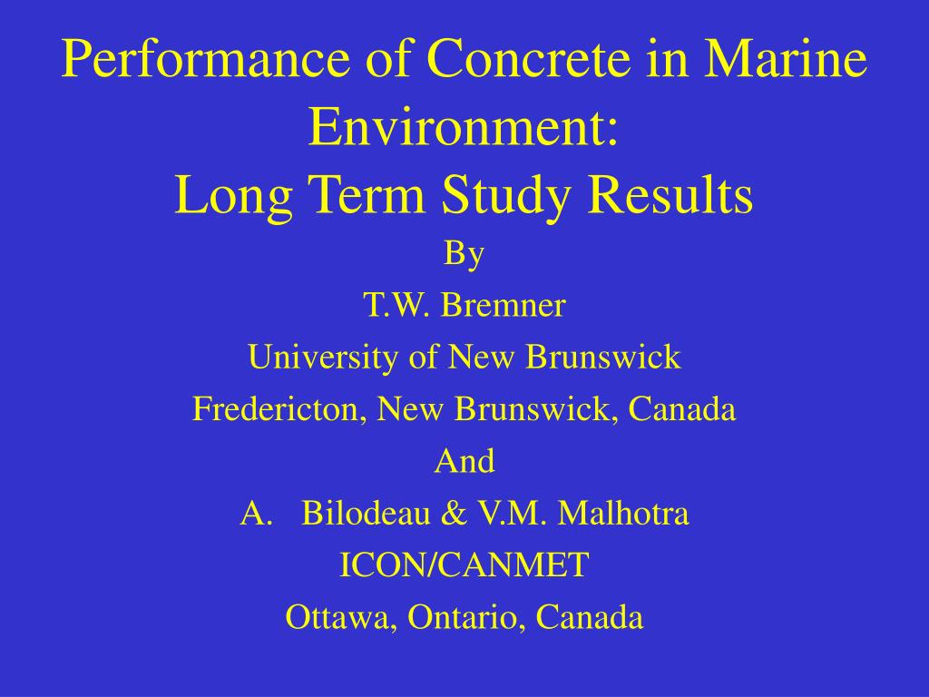 performance of concrete in marine environment long term study results l.