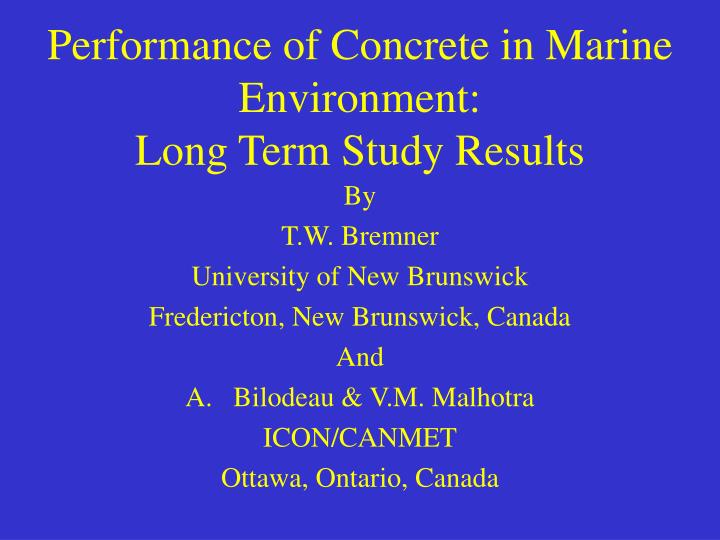 performance of concrete in marine environment long term study results n.