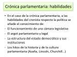 cr nica parlamentaria habilidades