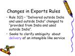 changes in exports rules