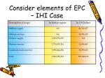 consider elements of epc ihi case
