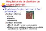 r gulation de la s cr tion du couple gnrh lh1