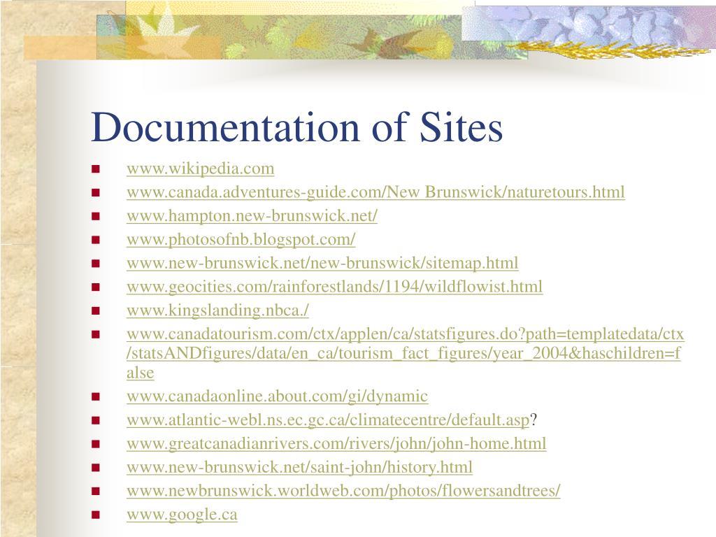Documentation of Sites