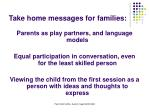 take home messages for families
