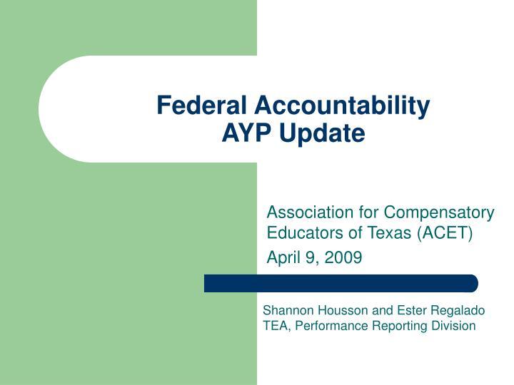 federal accountability ayp update n.