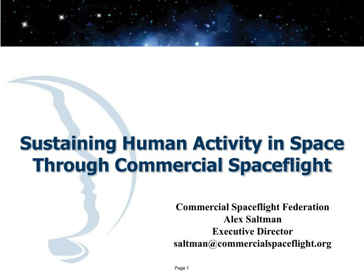 sustaining human activity in space through commercial spaceflight n.