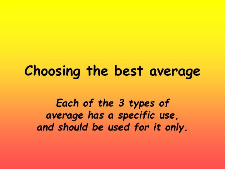 choosing the best average n.