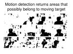 motion detection returns areas that possibly belong to moving target