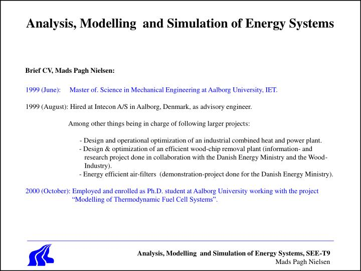 analysis modelling and simulation of energy systems n.