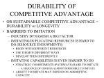 durability of competitive advantage