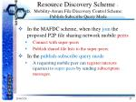 resource discovery scheme mobility aware file discovery control scheme publish subscribe query mode