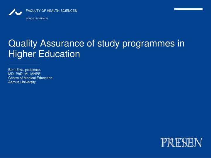 quality assurance of study programmes in higher education n.