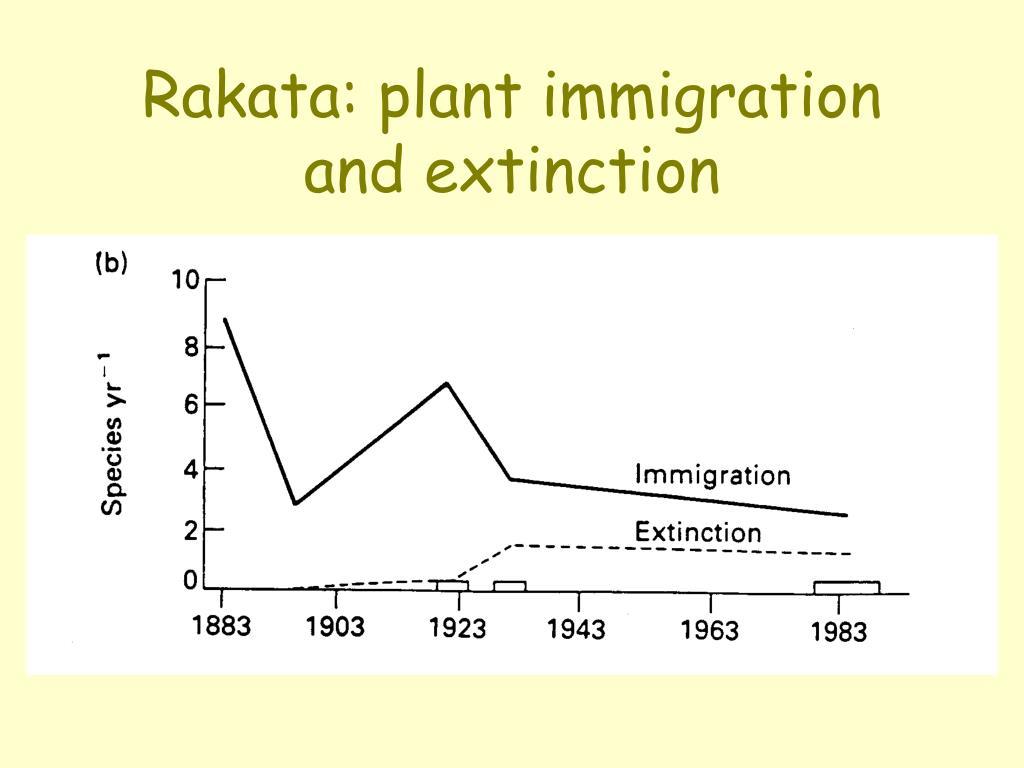 Rakata: plant immigration and extinction