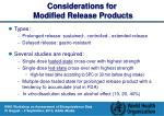 considerations for modified release products