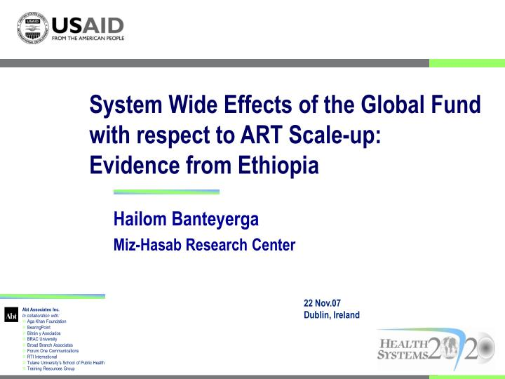 system wide effects of the global fund with respect to art scale up evidence from ethiopia n.