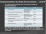 implementation by state governments cont d