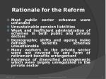 rationale for the reform