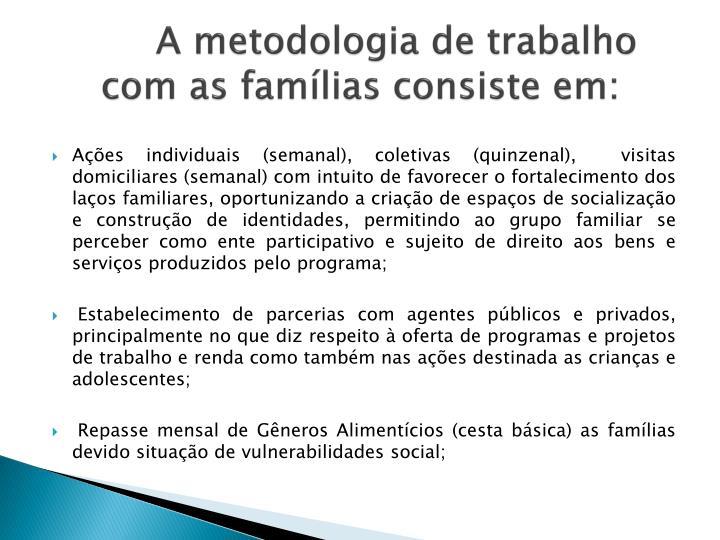A metodologia de trabalho com as famílias consiste em: