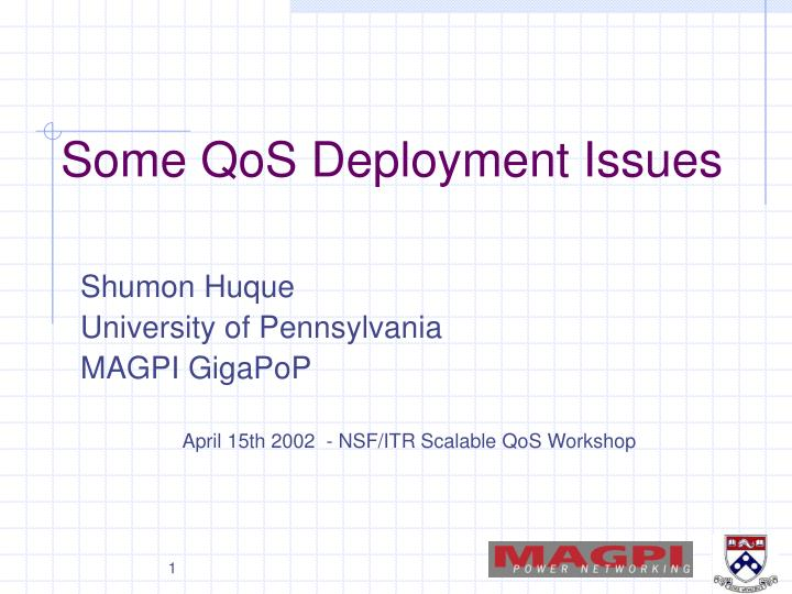 some qos deployment issues n.