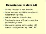 experience to date 4