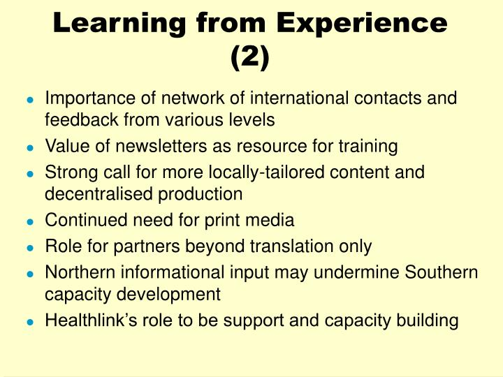 Learning from Experience (2)