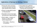 implications of syncope for driving a vehicle