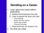 deciding on a career