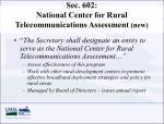 sec 602 national center for rural telecommunications assessment new