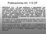 publicaciones art 113 cp