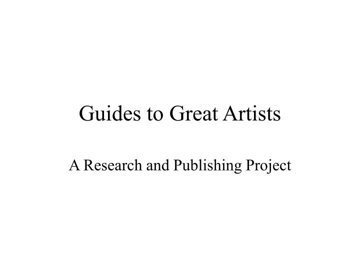 guides to great artists n.