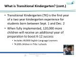 what is transitio nal kindergarten cont