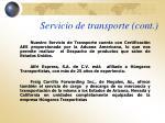 servicio de transporte cont