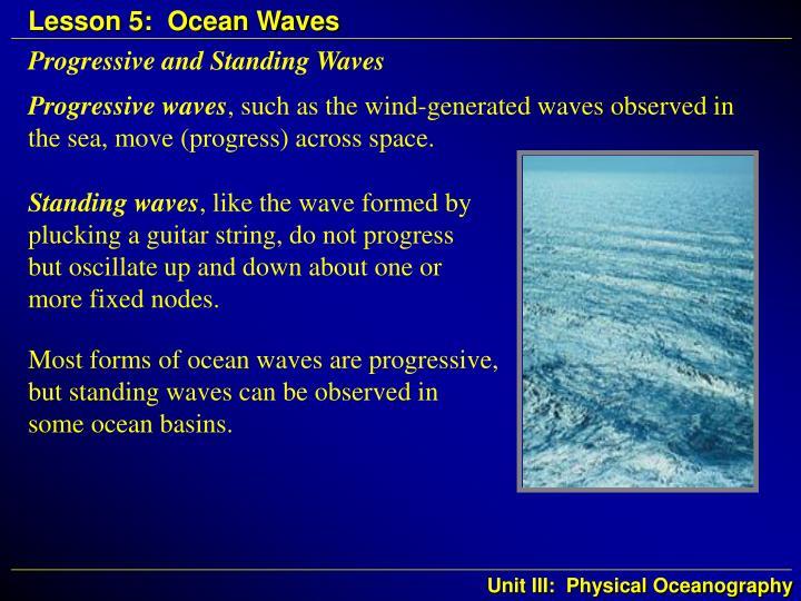 Progressive and standing waves