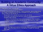 building an academic community a virtue ethics approach