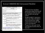section 6 bridge bill advisement checklist