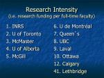 research intensity i e research funding per full time faculty
