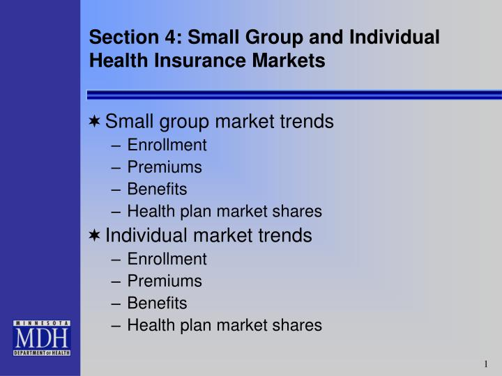 section 4 small group and individual health insurance markets n.