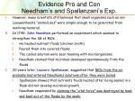 evidence pro and con needham s and spallanzani s exp