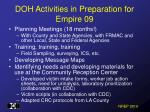 doh activities in preparation for empire 09