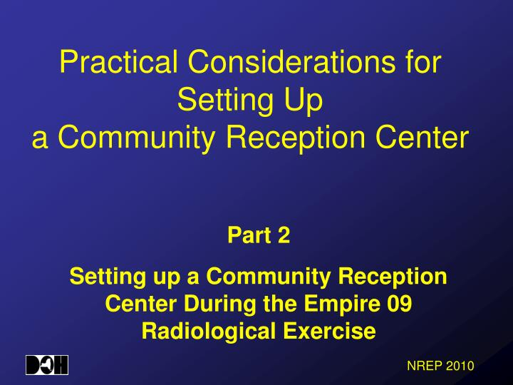 practical considerations for setting up a community reception center n.