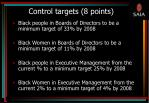 control targets 8 points