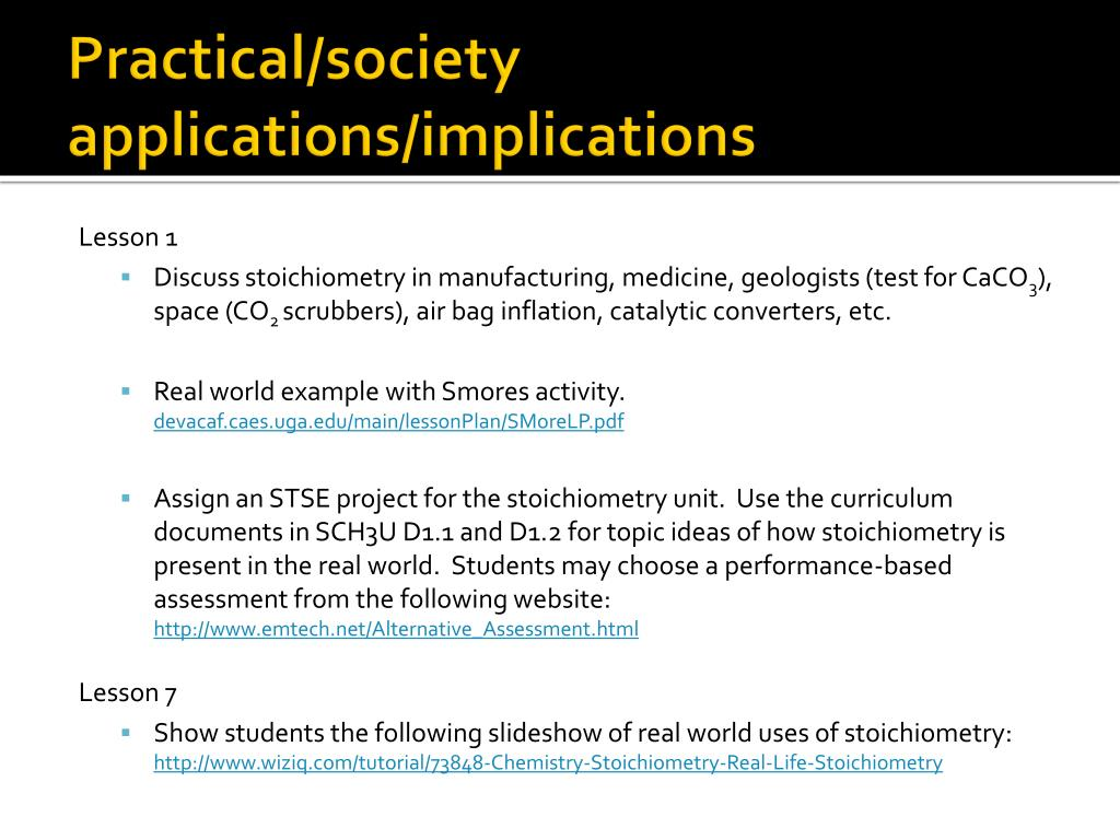 PPT - SCH3U D  Quantities in Chemical Reactions -Stoichiometry