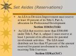 set asides reservations1